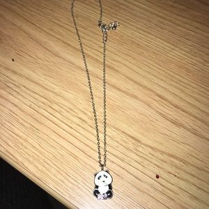 Panda Heart Paws Necklace w Silver Chain